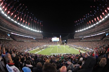 Jan 20, 2013; Foxboro, MA, USA; General view of fireworks during the playing of the national anthem before the AFC Championship game between the Baltimore Ravens and the New England Patriots at Gillette Stadium. The Ravens defeated the Patriots 28-13.  Mandatory Credit: Kirby Lee/USA TODAY Sports